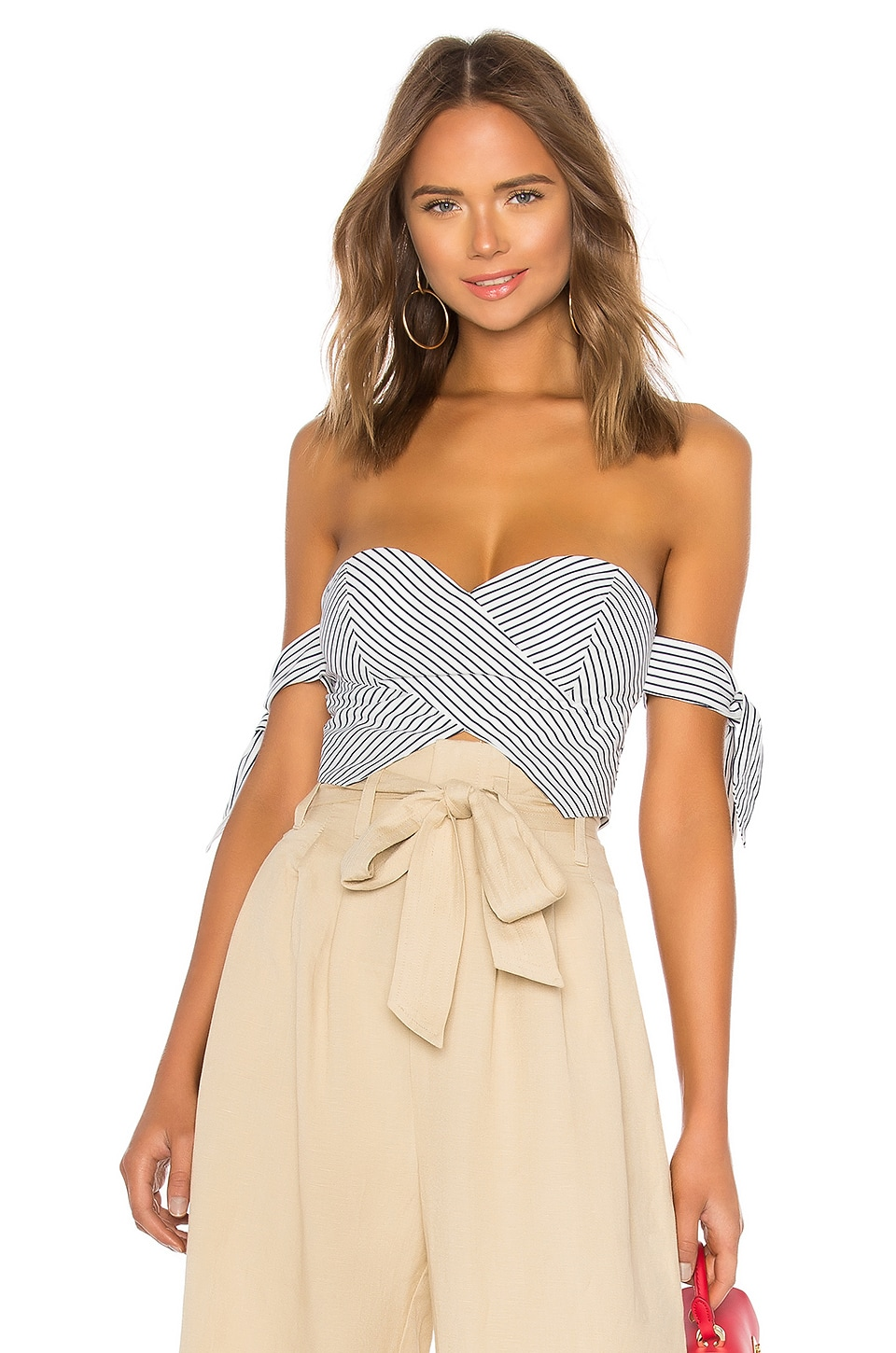 About Us Beatrice Striped Tie Sleeve Corset in White & Navy Stripe