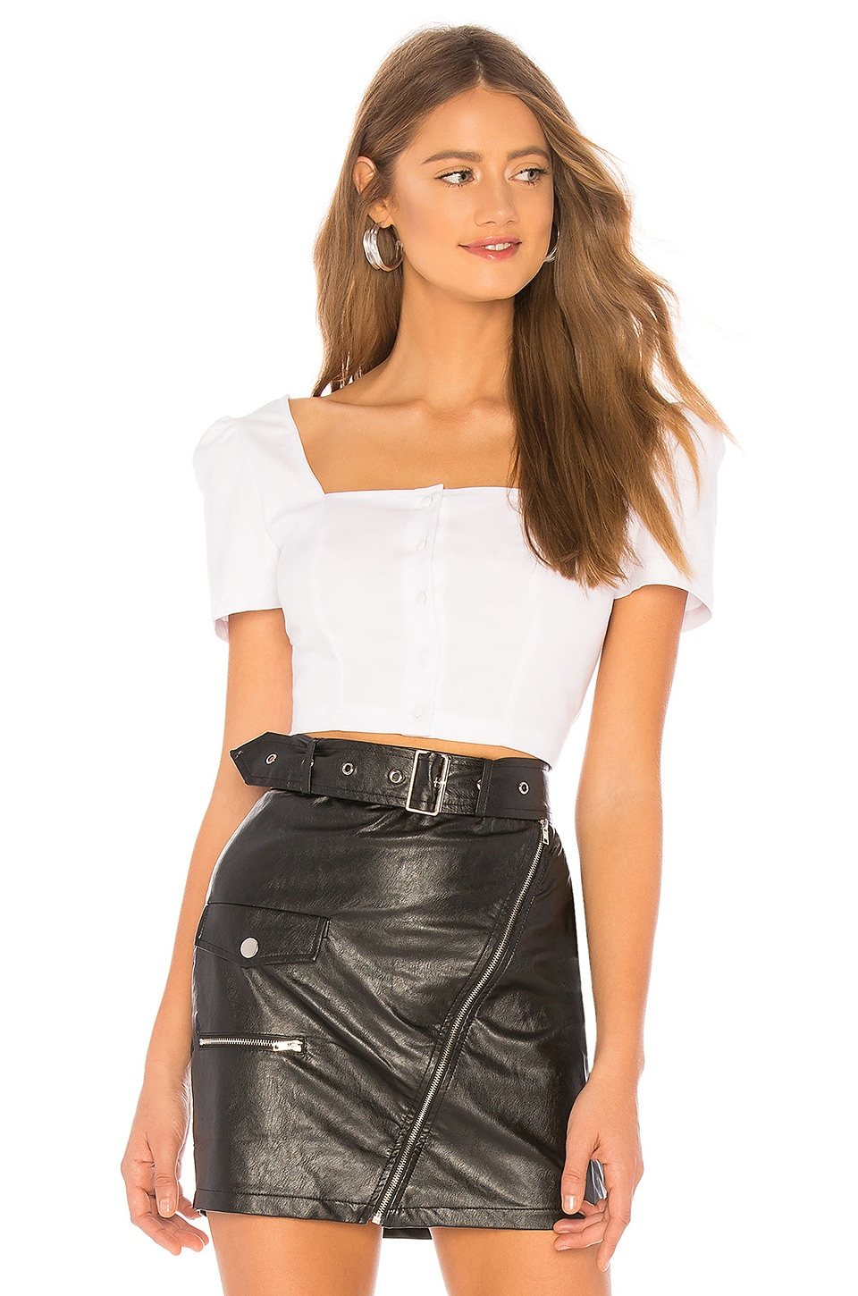 About Us Sandra Poplin Button Up Top in White
