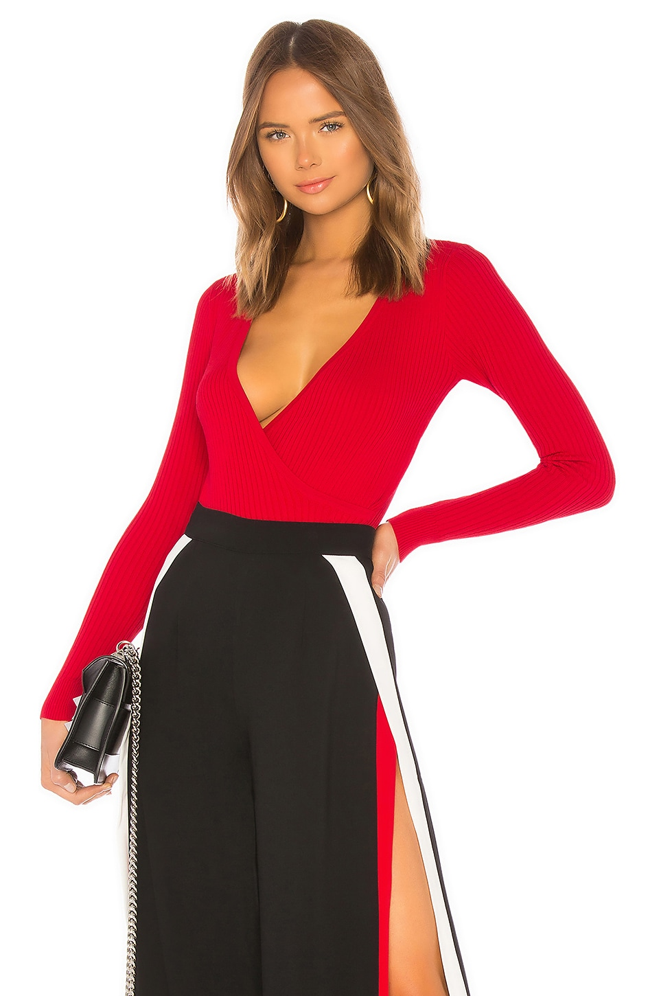 About Us Gia Wrap Top in Red