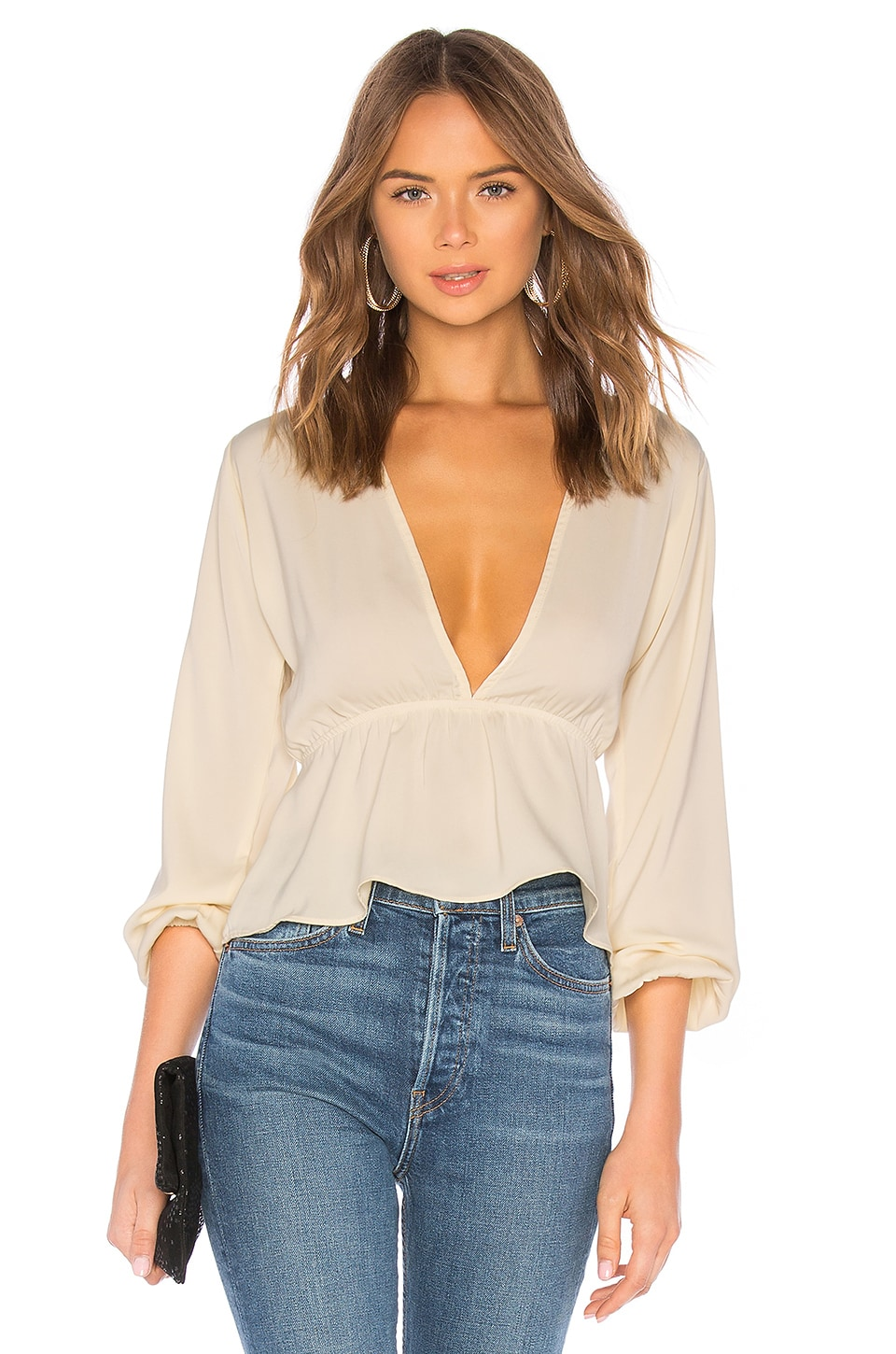 superdown Skylar Deep V Top in Cream