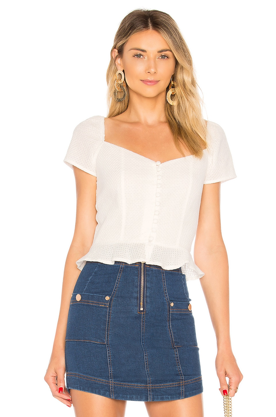 superdown Bailey Button Front Top in White