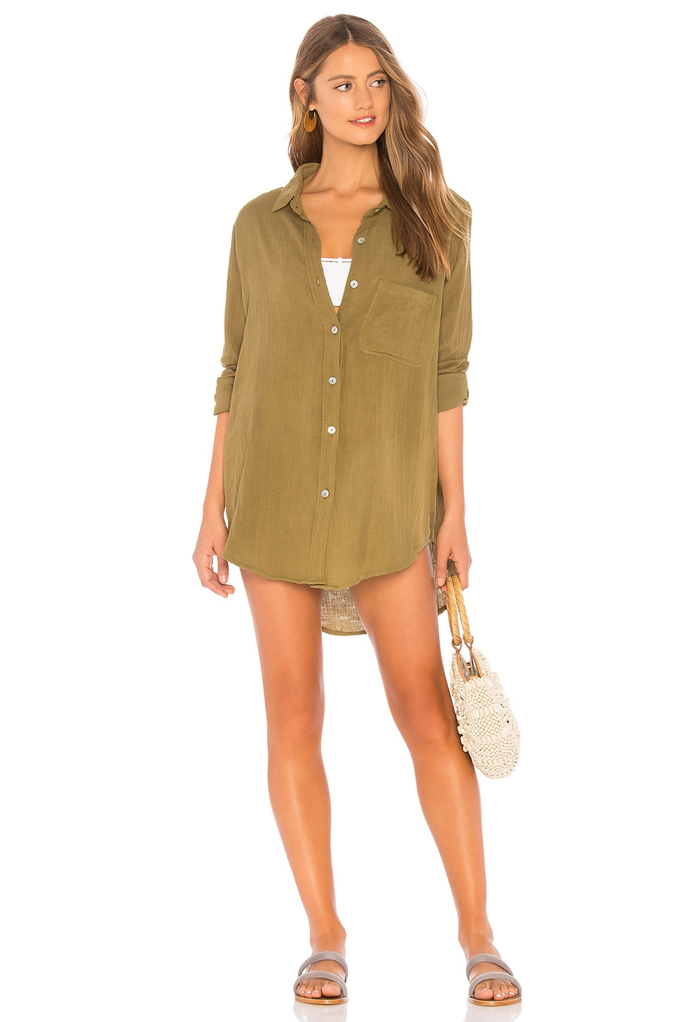 Acacia Swimwear Milos Button Up Dress in Olive