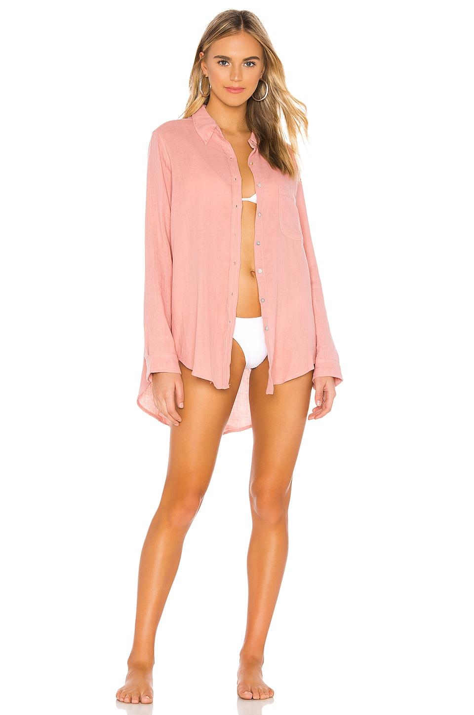 Acacia Swimwear Milos Button Up in Pink Lemonade
