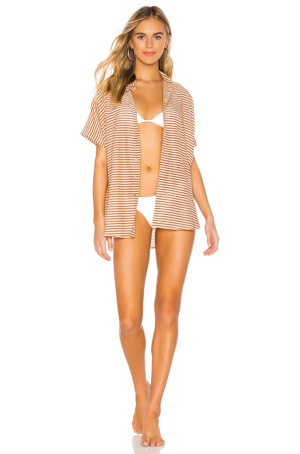 Acacia Swimwear Mombasa Button Up in Apricot Stripe