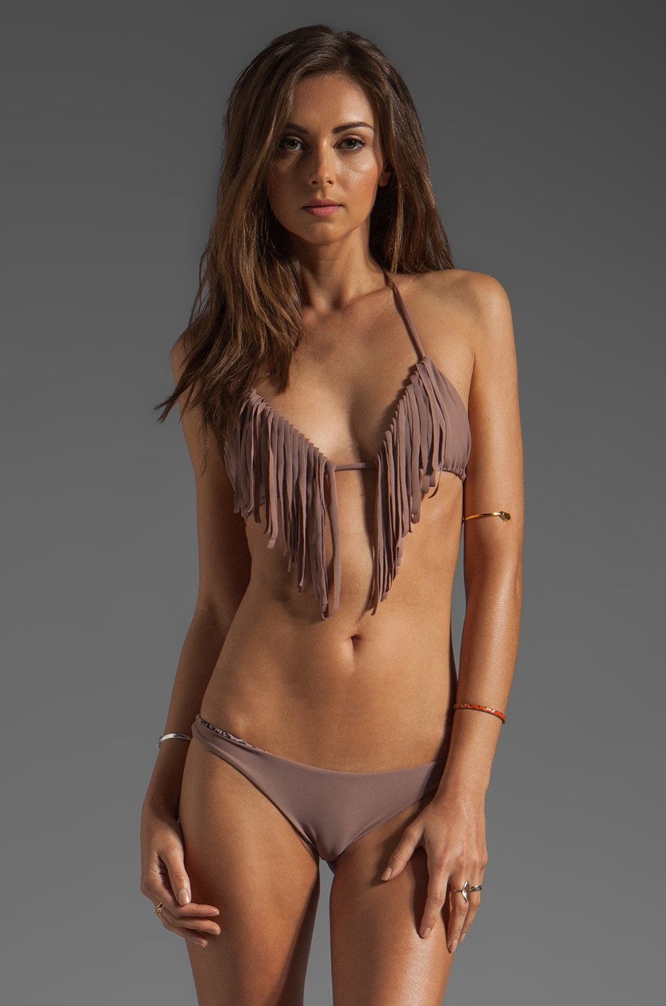 Acacia Swimwear Montauk Fringe Triangle Top in Hapa