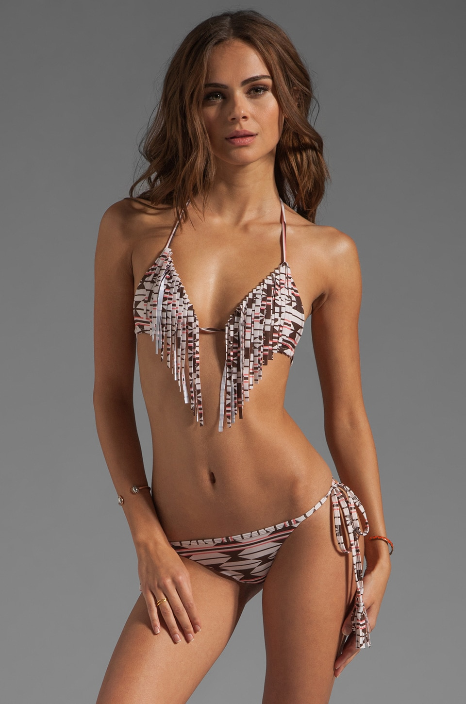 Acacia Swimwear Montauk Fringe Triangle Top in Native