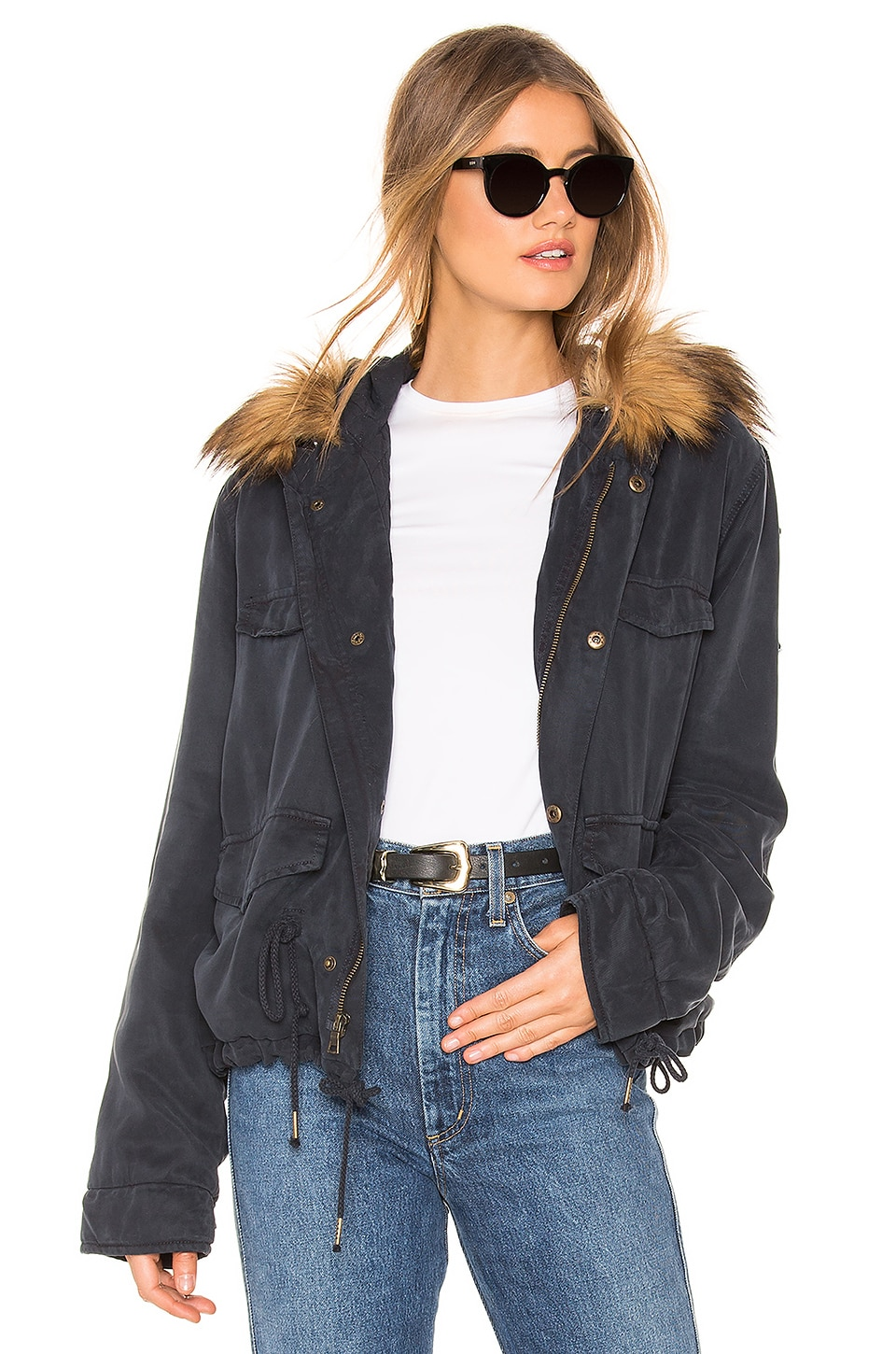 YFB CLOTHING Wells Crop Jacket With Faux Fur Lining in Ink