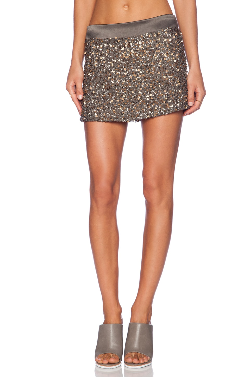 YFB CLOTHING Embellished Mini Skirt in Olive