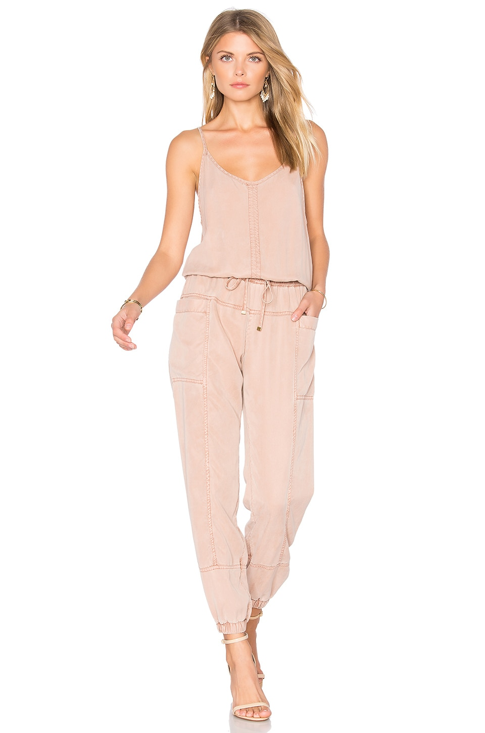 YFB CLOTHING Iver Jumpsuit in Sand Rose