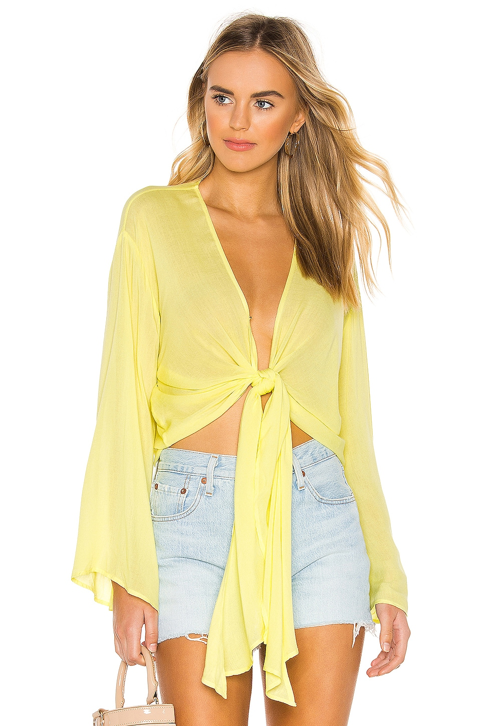 YFB CLOTHING Free Fall Top in Lemon