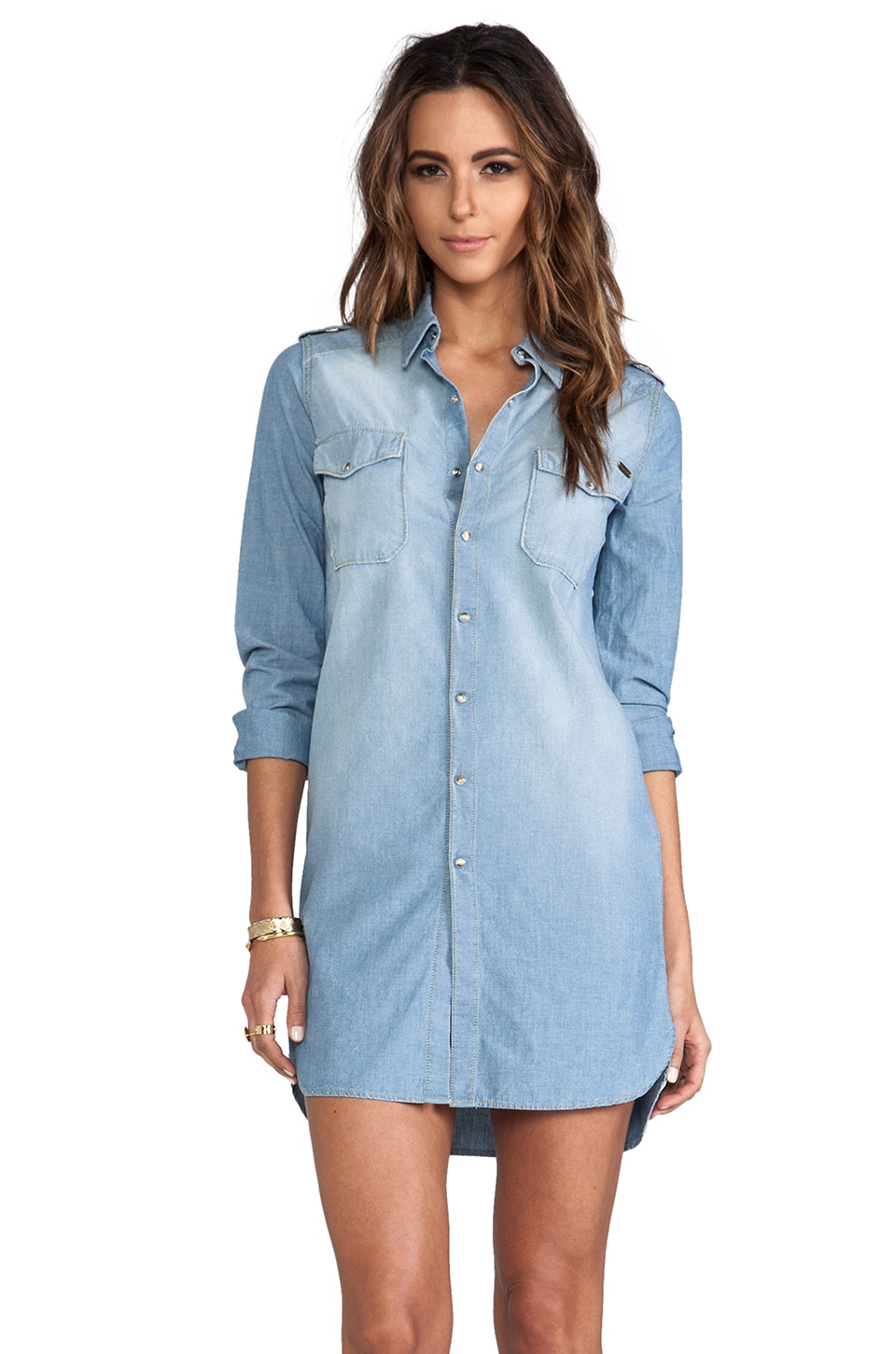 Acquaverde Fitzgerald Button Up in Chambray Bleached