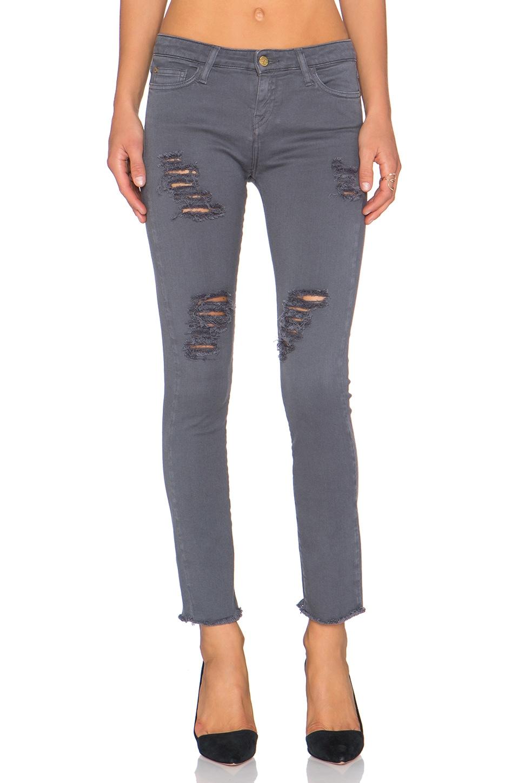 Acquaverde Skinny Jean in Anthracite Super Destroy