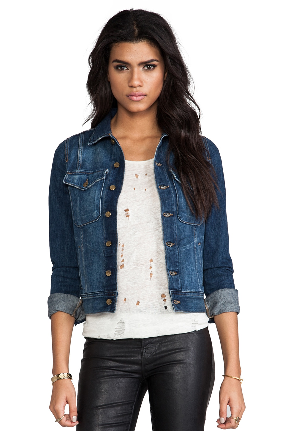 Acquaverde Abbey Denim Jacket in Hand Brushed Dark