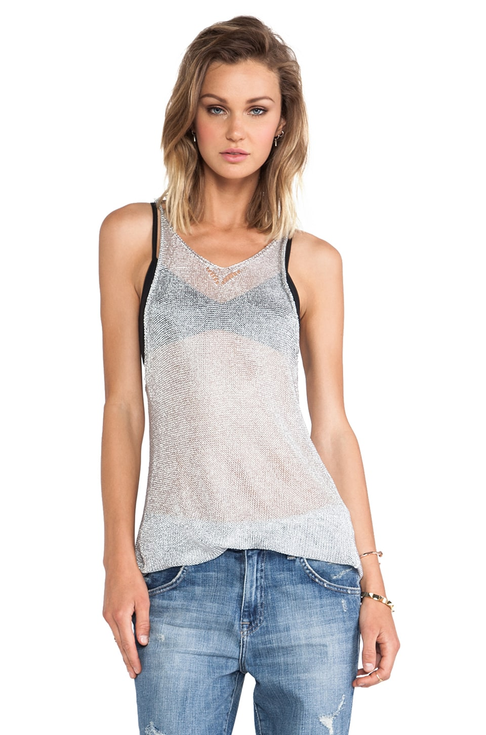 Acquaverde Knit Tank in Silver