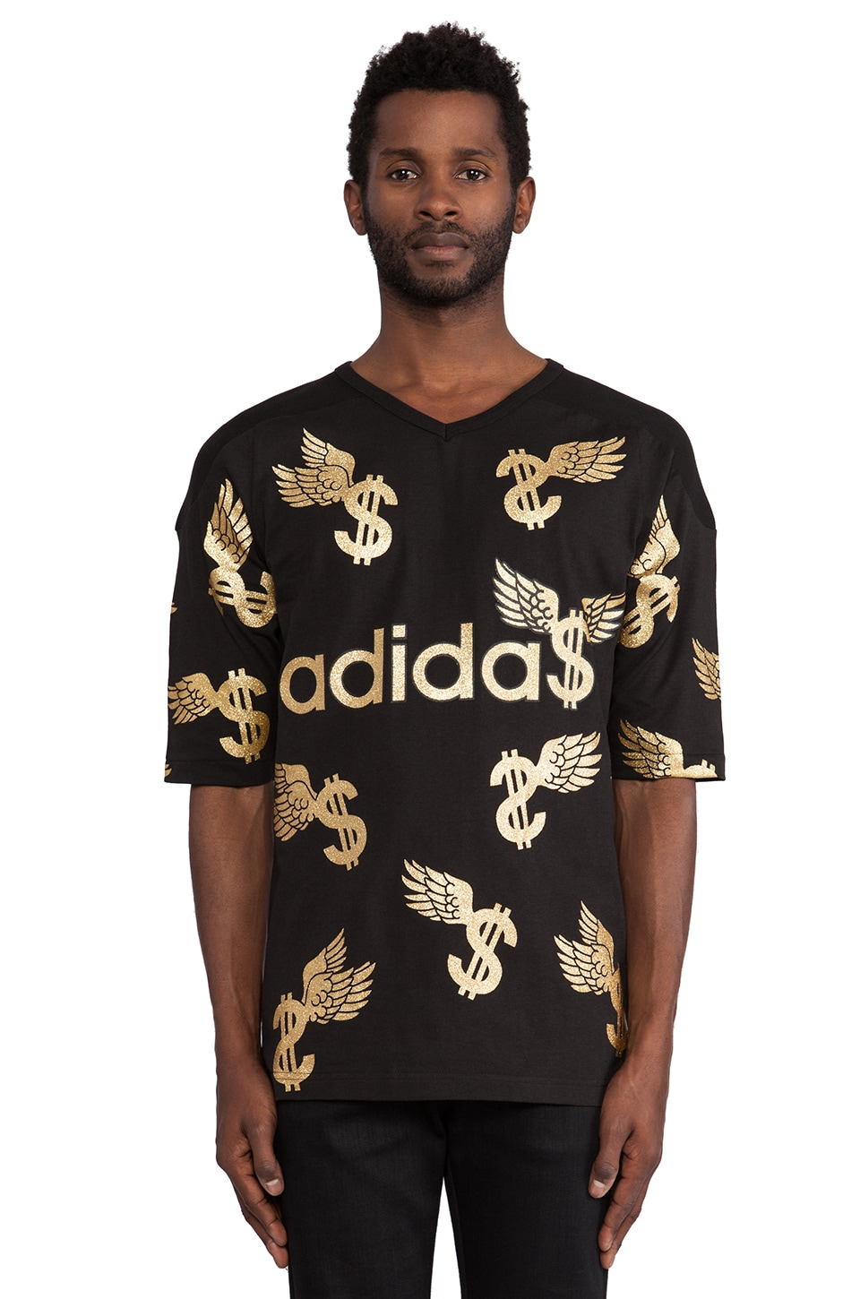 adidas Originals by Jeremy Scott Wing Dollar Tee in Black & Metallic Gold