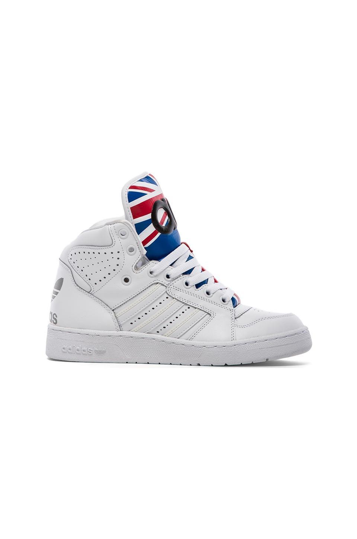 adidas Originals by Jeremy Scott Instinct Hi in White & Collegiate Red