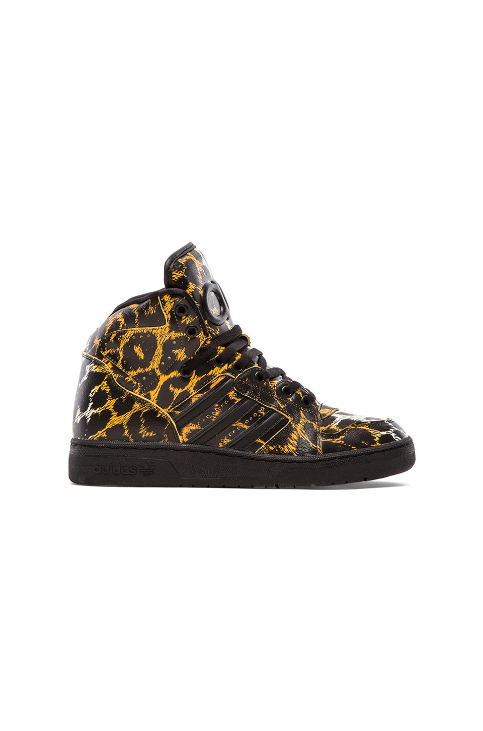 adidas Originals by Jeremy Scott Instinct Hi Leopard in Slime &  Vivid Yellow & Light Orange