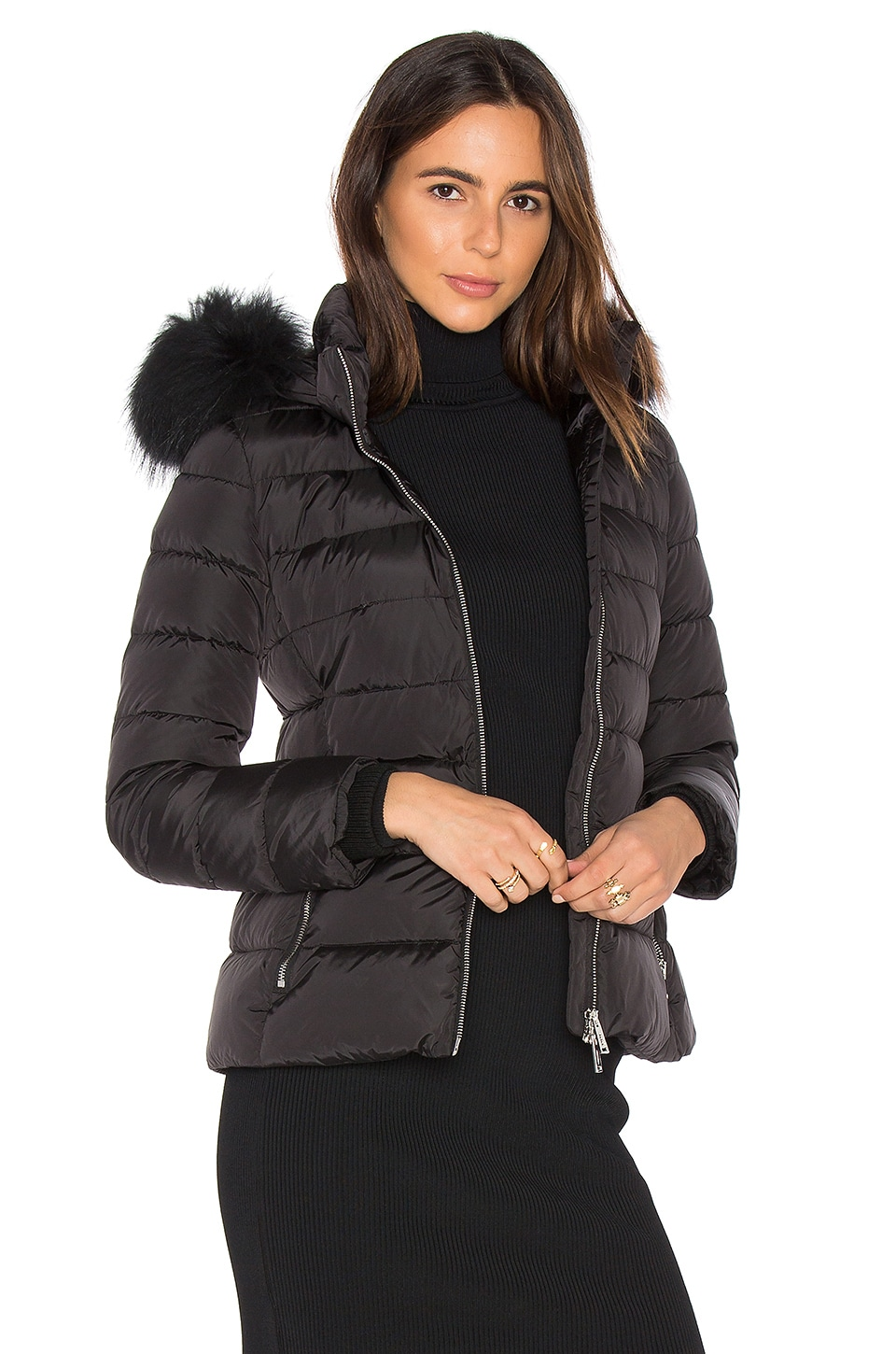Down Jacket with Asiatic Raccoon Fur Collar by ADD