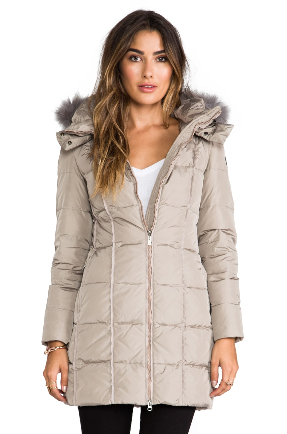 ADD Down Coat With Hood and Fur in Beige