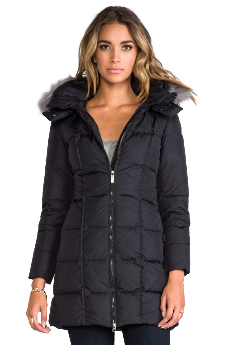 ADD Down Coat With Hood and Fur in Black