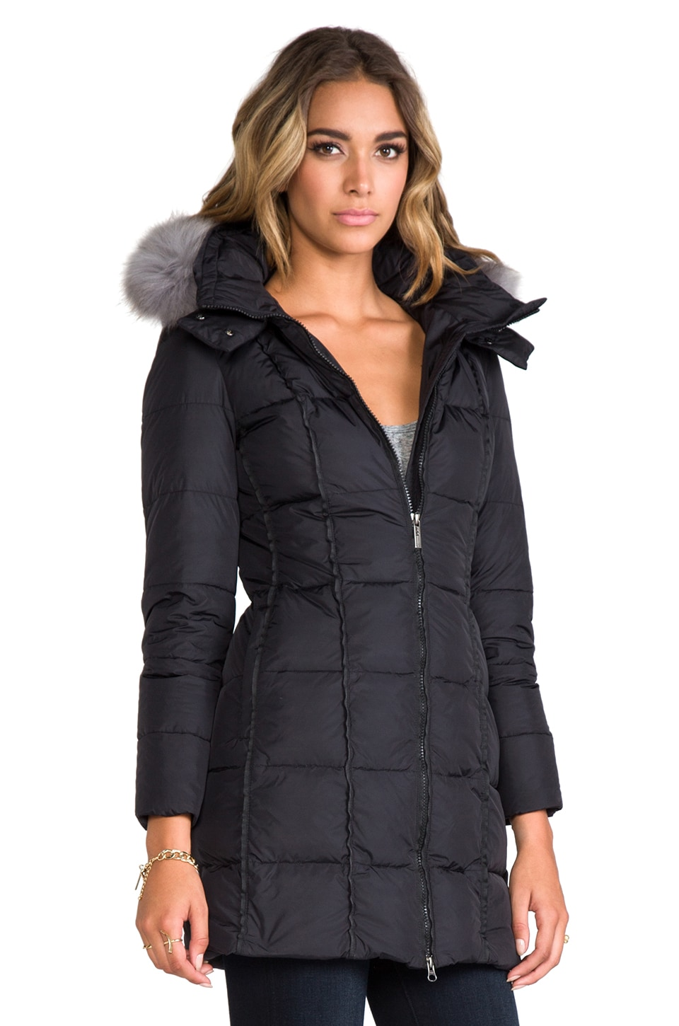 ADD Down Coat With Hood and Fur in Black | REVOLVE
