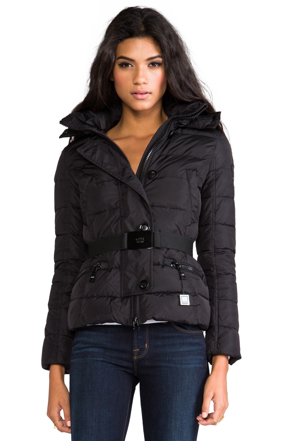 ADD Down Jacket With Fur Boarder in Black