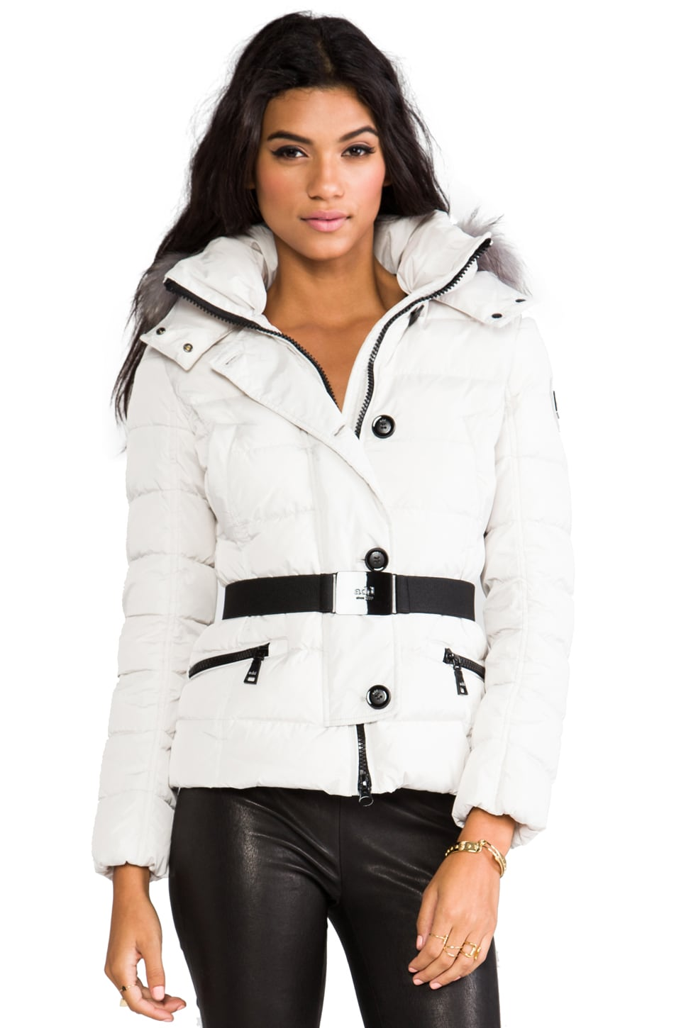ADD Down Jacket With Fur Boarder in Pearl White