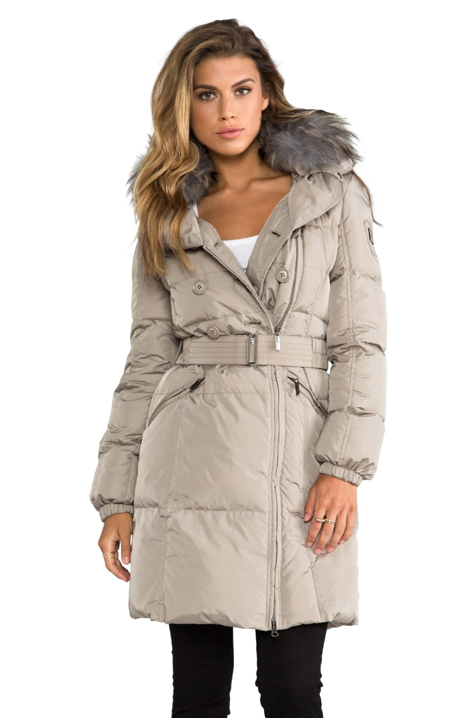 ADD Down Coat With Fur Collar in Beige