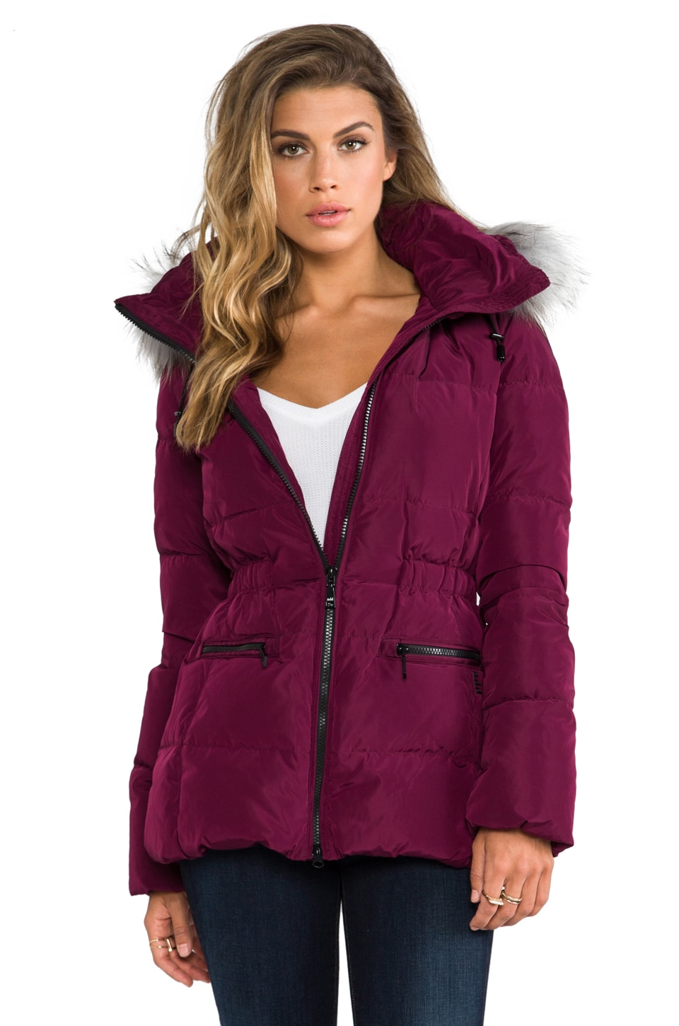 ADD Down Jacket With Fur Border in Deep Claret