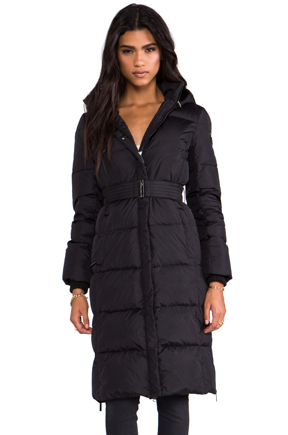 ADD Long Down Coat With Faux Fur Lined Hood in Black
