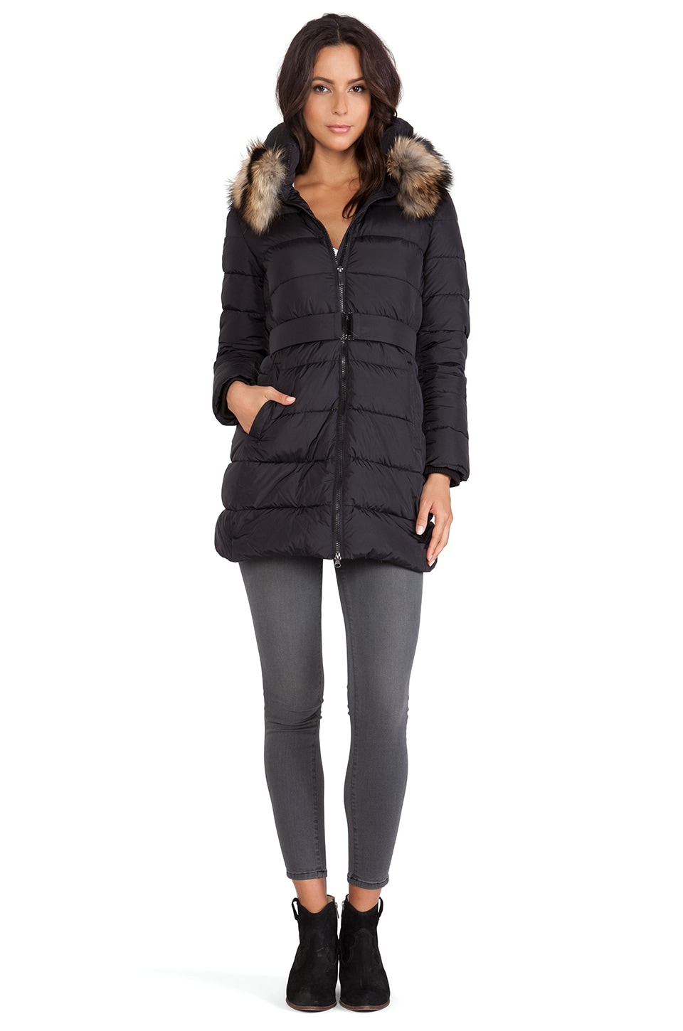 ADD Down Jacket with Fur Collar in Black | REVOLVE