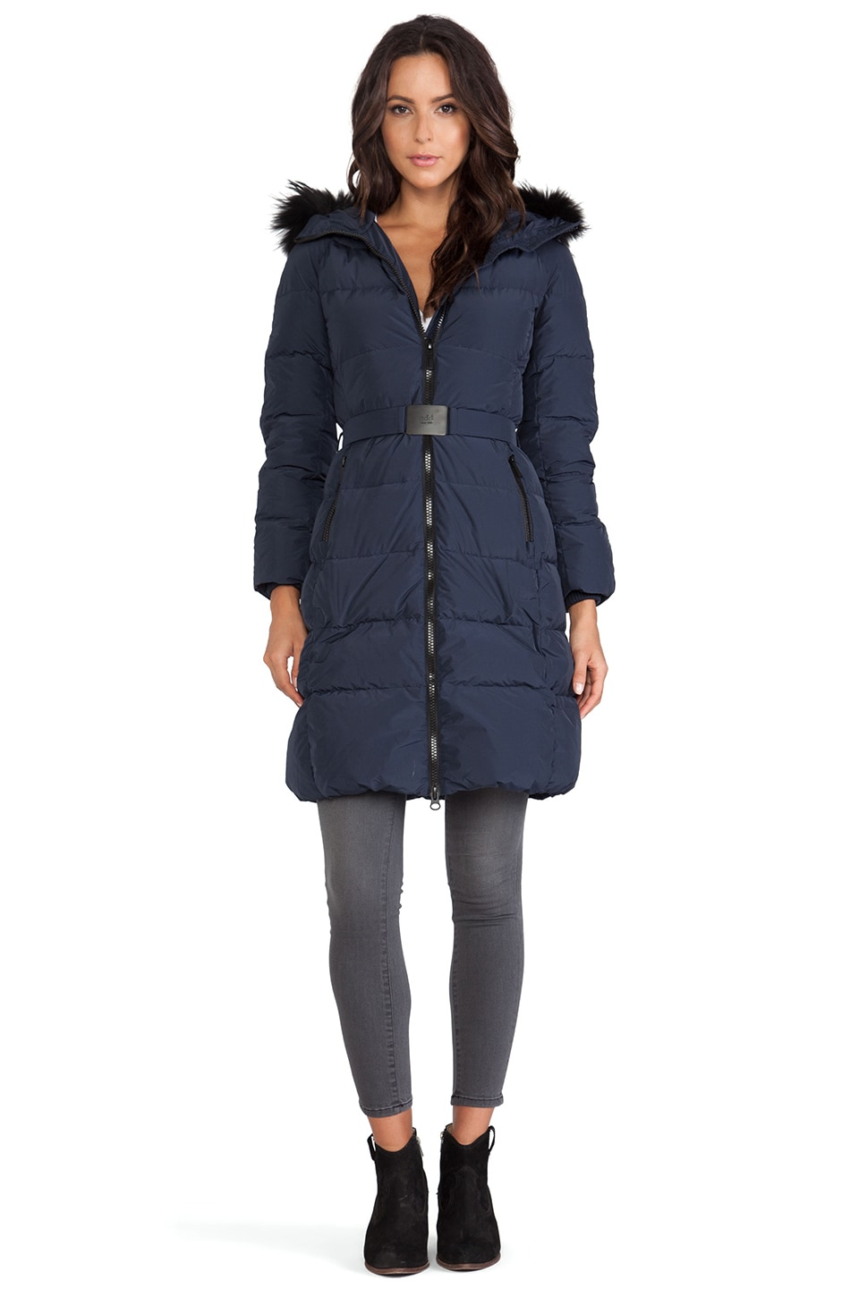 ADD Down Coat with Fur Hood in Patriot Blue | REVOLVE