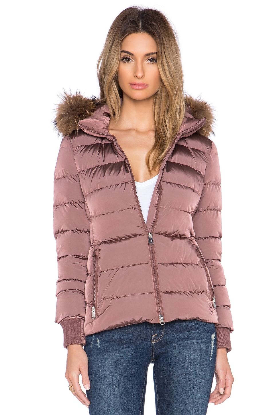 ADD Down Jacket with Raccoon Fur Border in Dusty Rose | REVOLVE