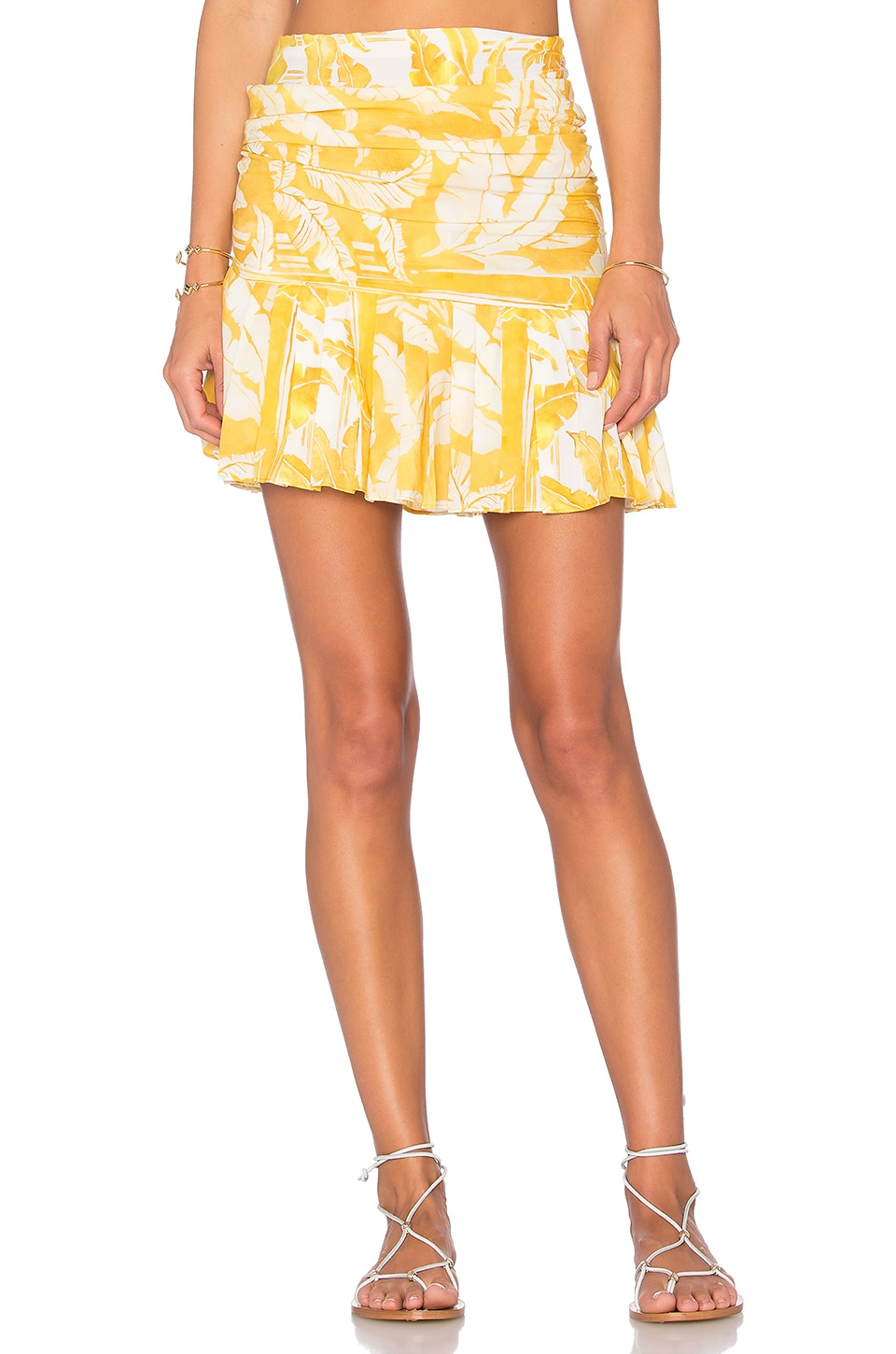 ADRIANA DEGREAS Tropical Leaves Skirt in Yellow