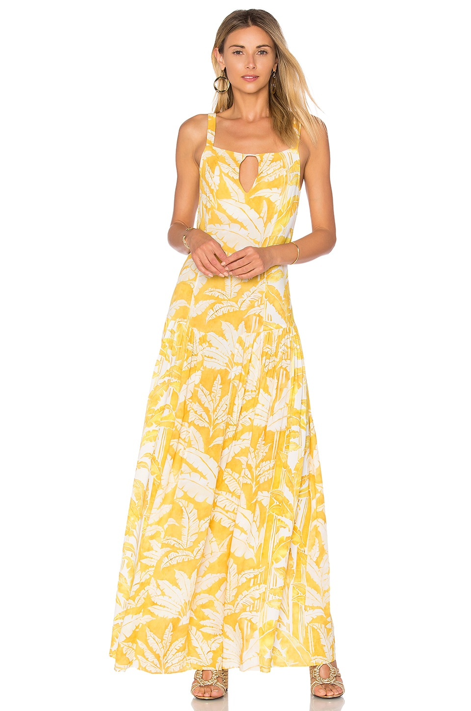 ADRIANA DEGREAS Tropical Leaves Maxi Dress in Yellow