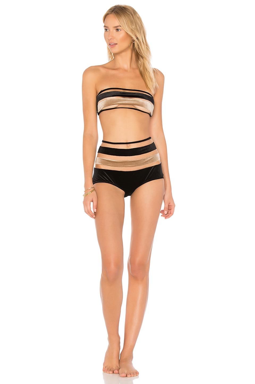 Striped Velvet Bandeau Hot Pant Set by ADRIANA DEGREAS Swimwear