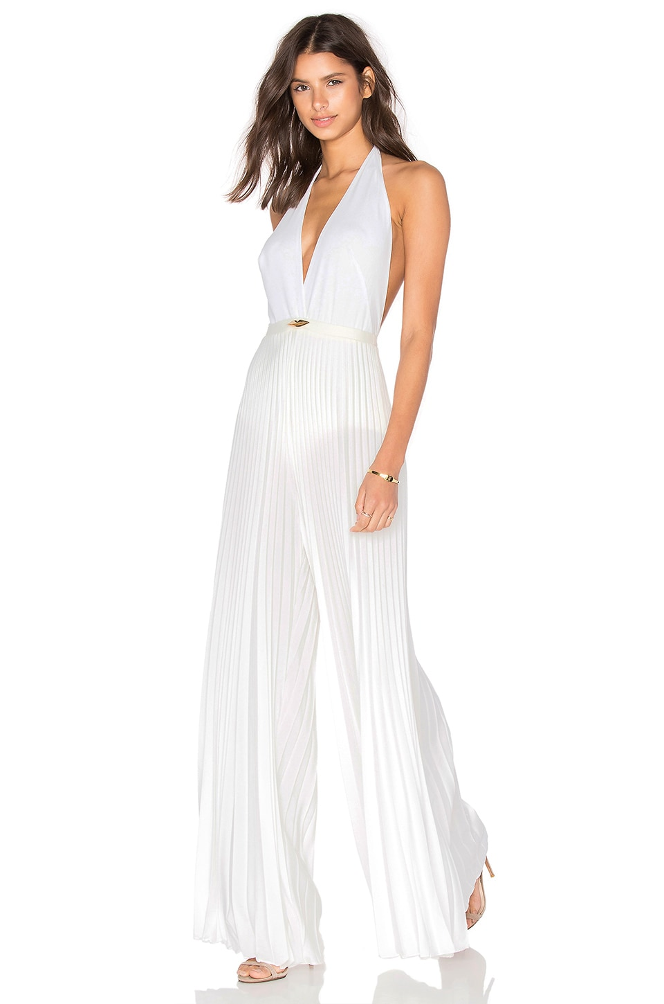 ADRIANA DEGREAS Lips Pleated Jumpsuit in Off White