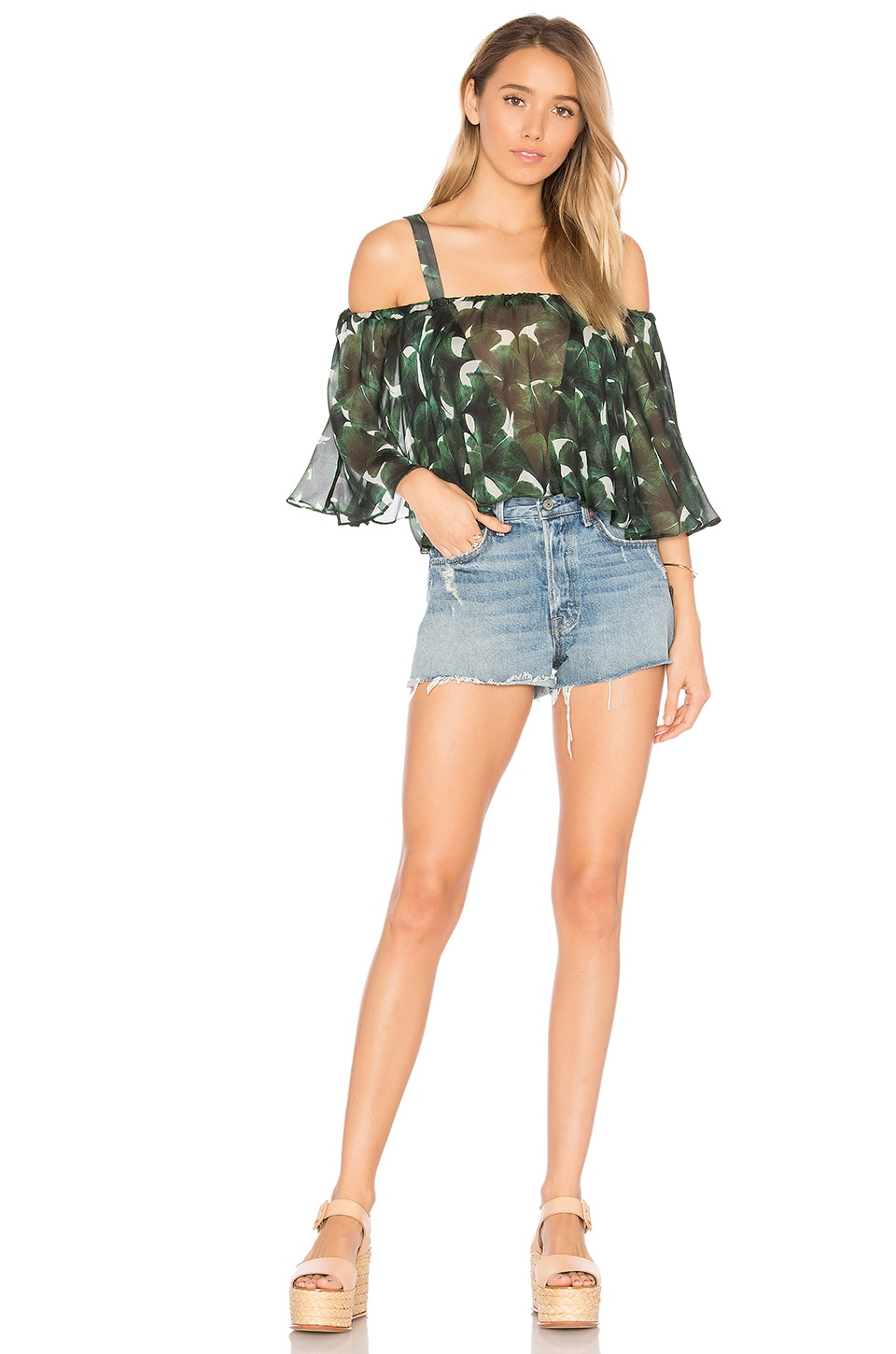 ADRIANA DEGREAS Ginkgo Off the Shoulder Swimsuit in Bonsai Green