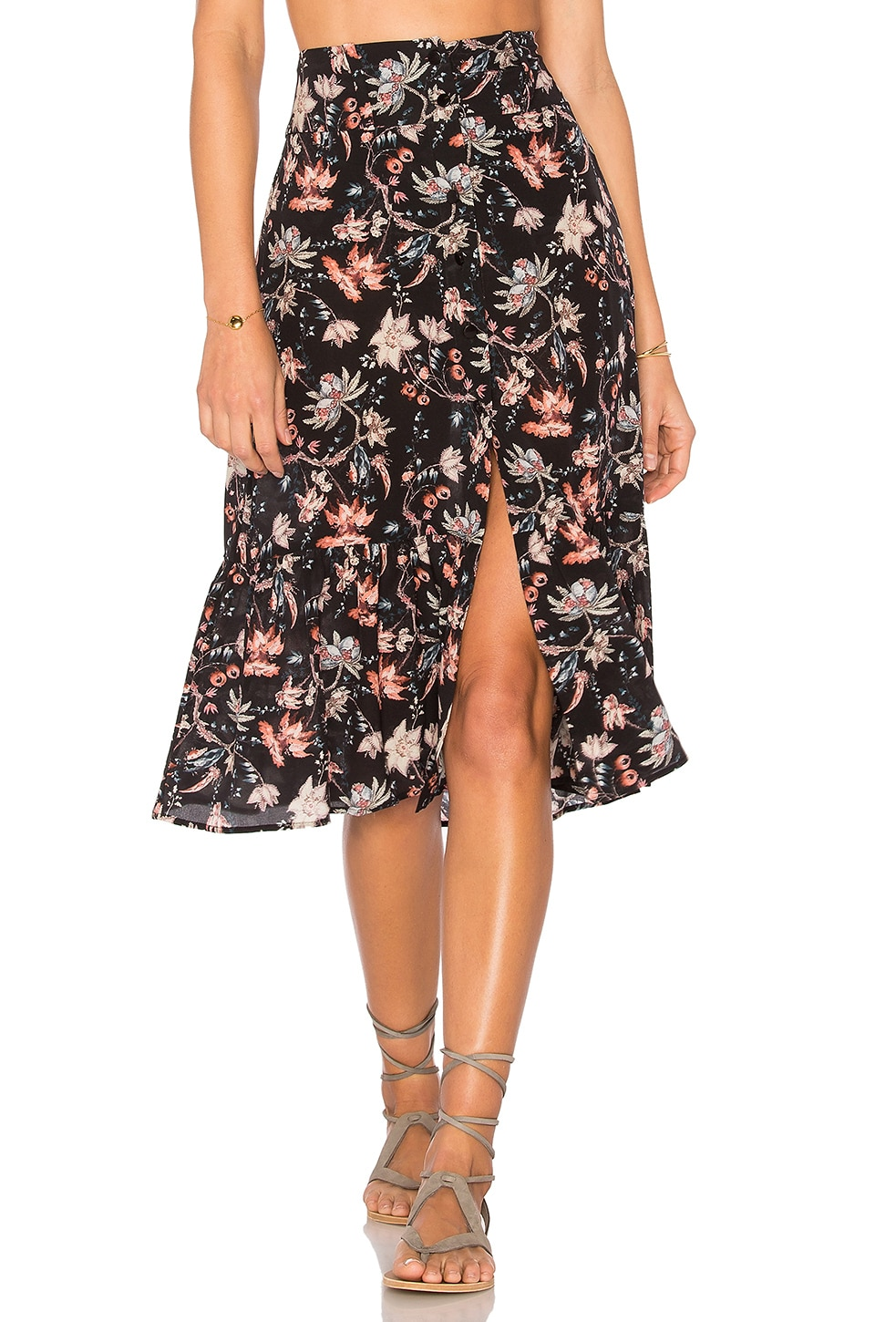 ADRIANA DEGREAS Chinoiserie Midi Skirt in Black