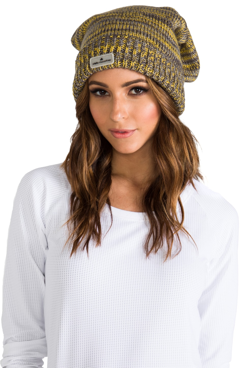 adidas by Stella McCartney Ski Hat in Sharp Yellow/Sharp Grey/Grey Rock