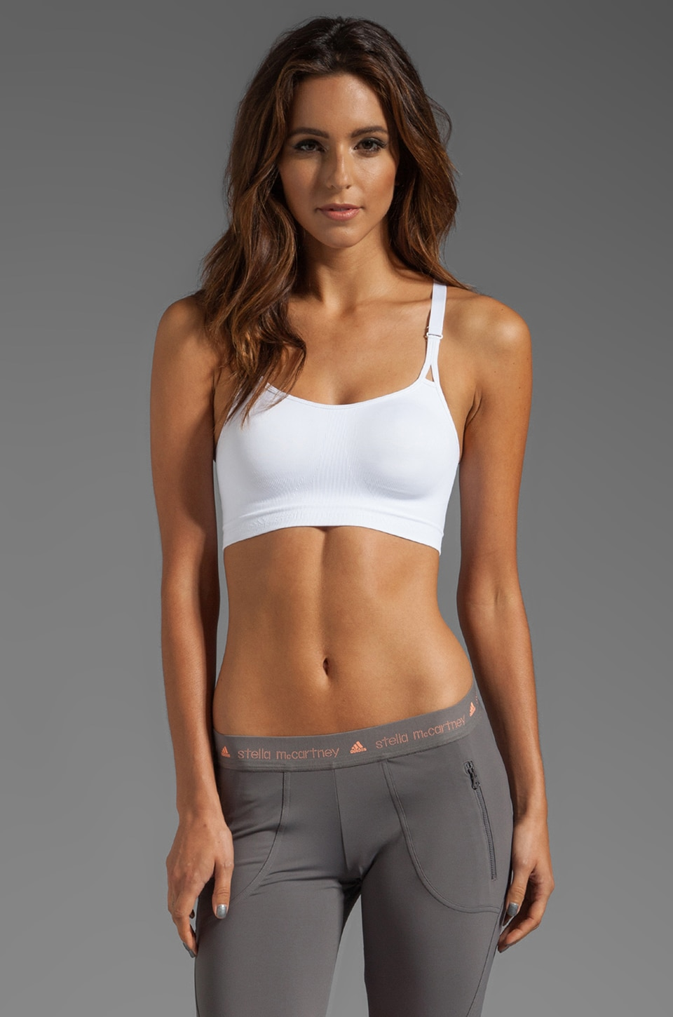 adidas by Stella McCartney SL Perf Bra in White/Warnin