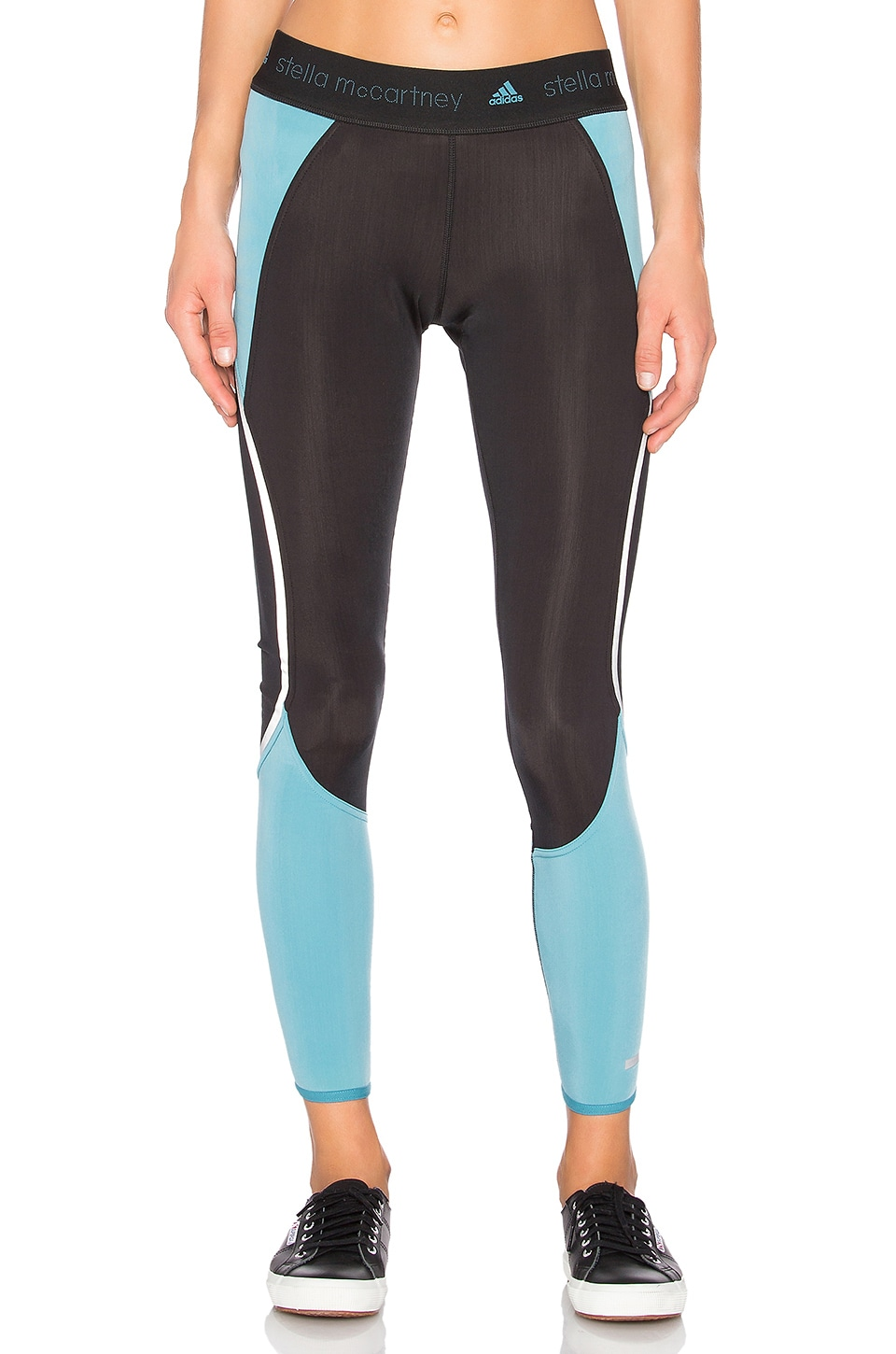 adidas by Stella McCartney Run Climaheat Long Tight in Black & Harbour Blue