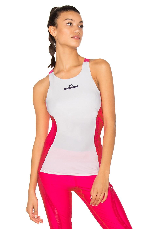 adidas by Stella McCartney Run Tank in White & Shock Pink