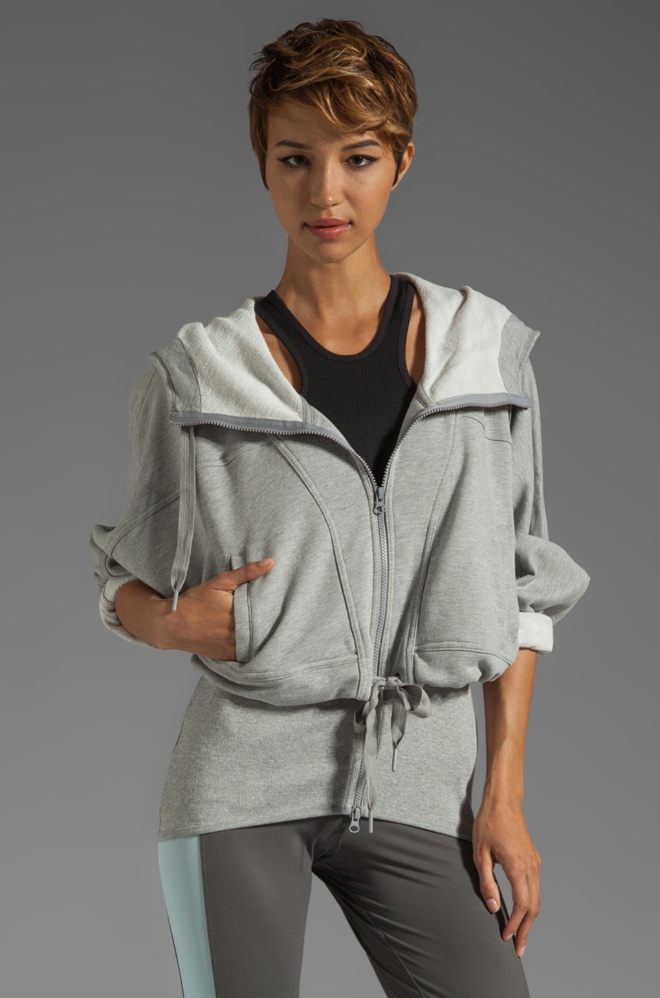 adidas by Stella McCartney Athletic Hoodie in Medium Grey Heather