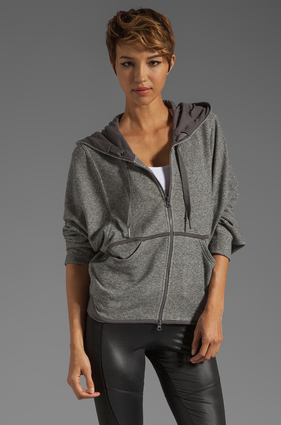 adidas by Stella McCartney Athletic Hoodie in Dark Grey Heather
