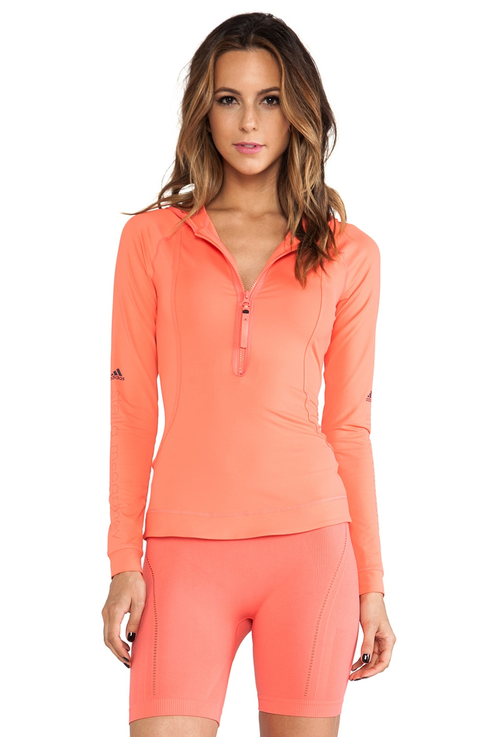 adidas by Stella McCartney Logo Long-sleeve Hoodie in Bright Coral