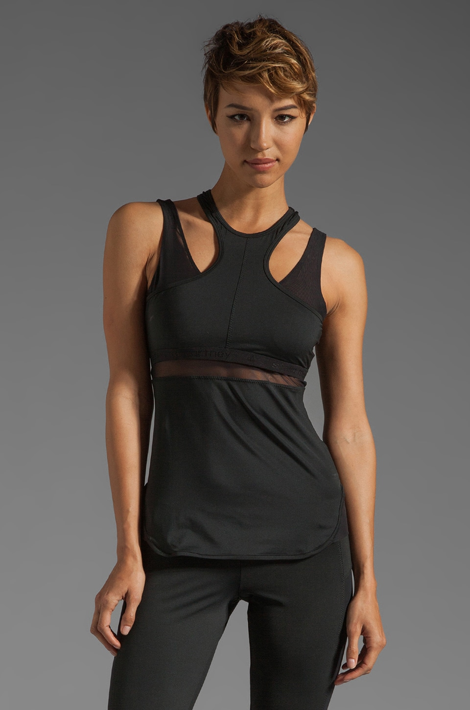 adidas by Stella McCartney Athletic Cut Out Tank in Black