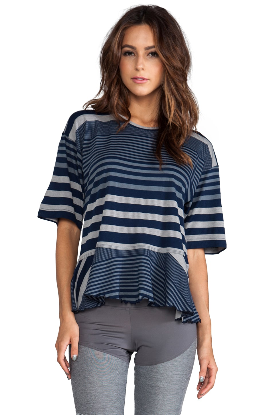 adidas by Stella McCartney Stu Striped Tee in Collegiate Navy/Lead/Core Heather