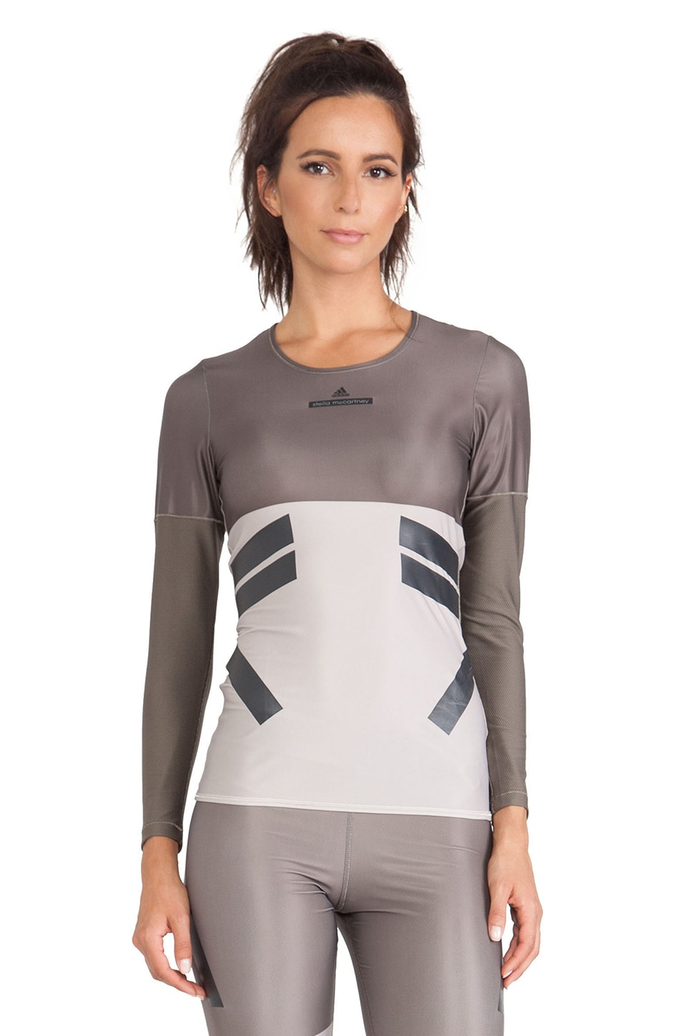 adidas by Stella McCartney 3/4 Sleeve Techfit Running Tee in Branch & Shell Beige