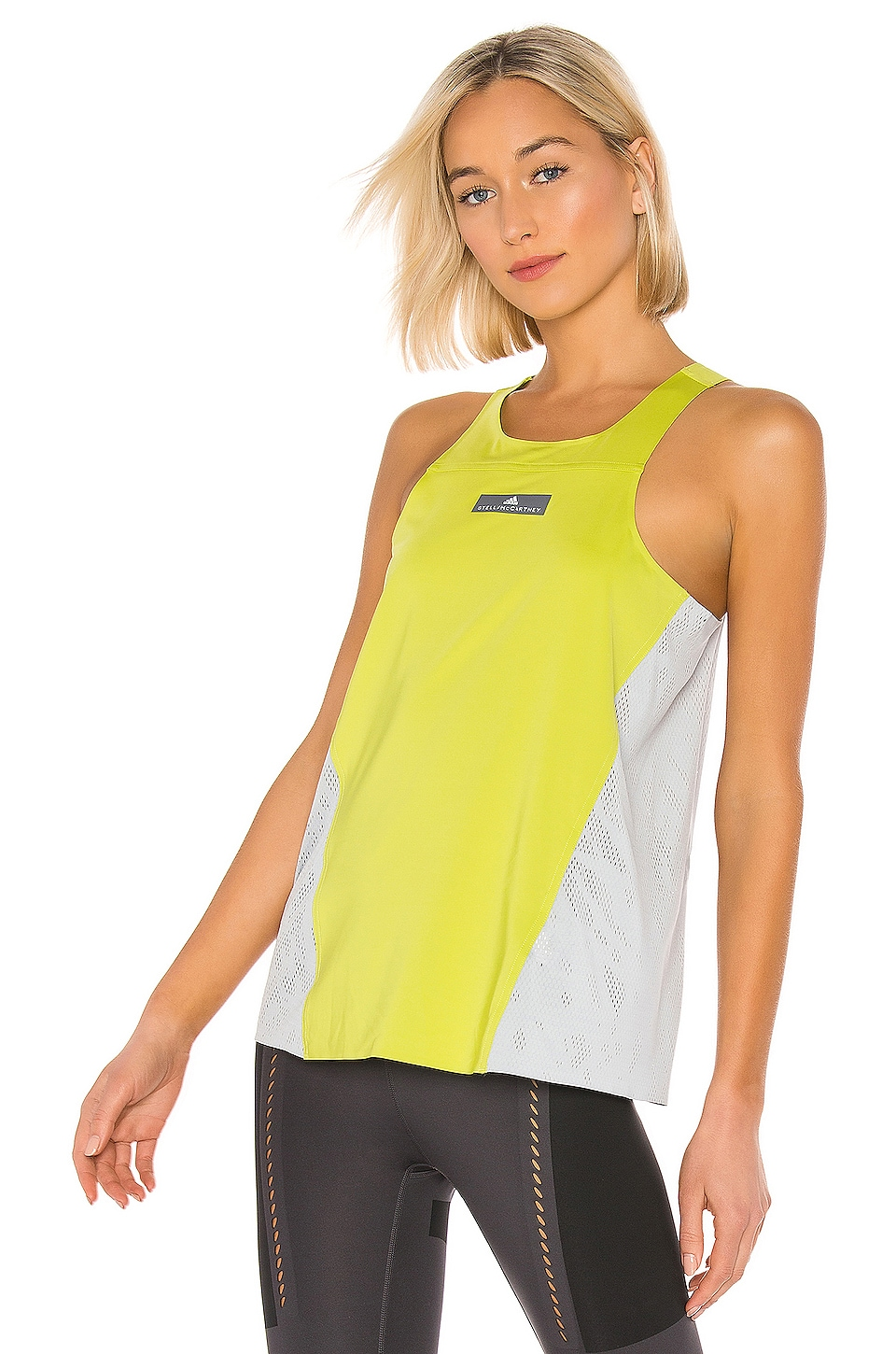 adidas by Stella McCartney Run Loose Tank in Half Green & Clear Onix